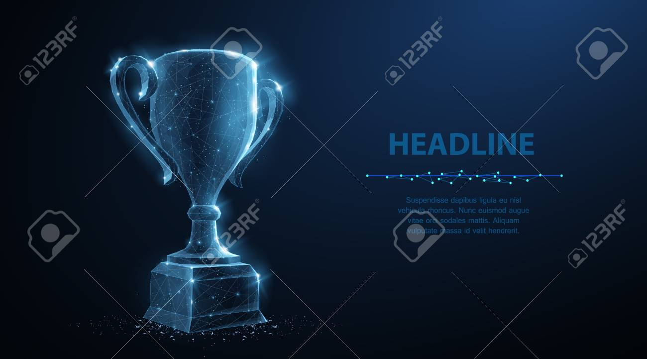 Trophy cup. Abstract vector 3d trophy isolated on blue background. Champions award, sport victory, winner prize concept. Competition success, first place, best win, celebration ceremony symbol. - 123673578