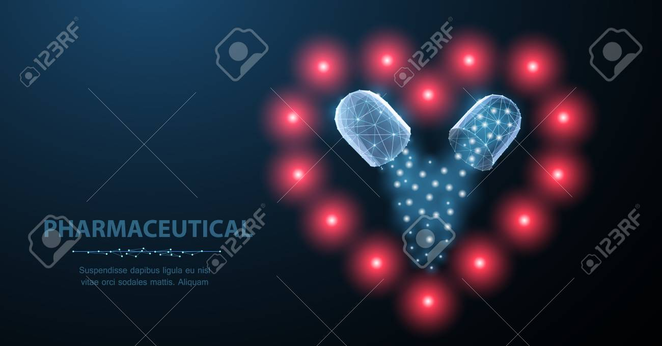 Medicine for the heart. Abstract polygonal wireframe two capsule pills with heart symbol on blue. - 127503994