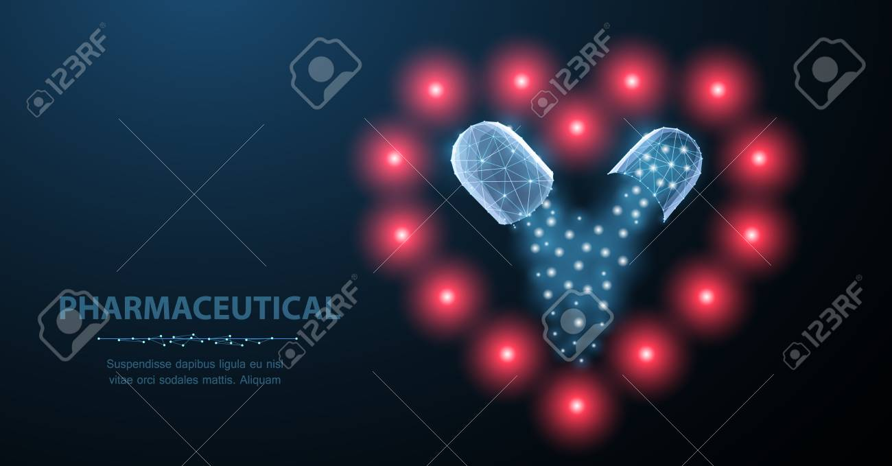 Medicine for the heart. Abstract polygonal wireframe two capsule pills on heart symbol on blue. Medical antibiotic, health pharmacy, vitamin pharmaceutic, treatment concept illustration or background - 127503995