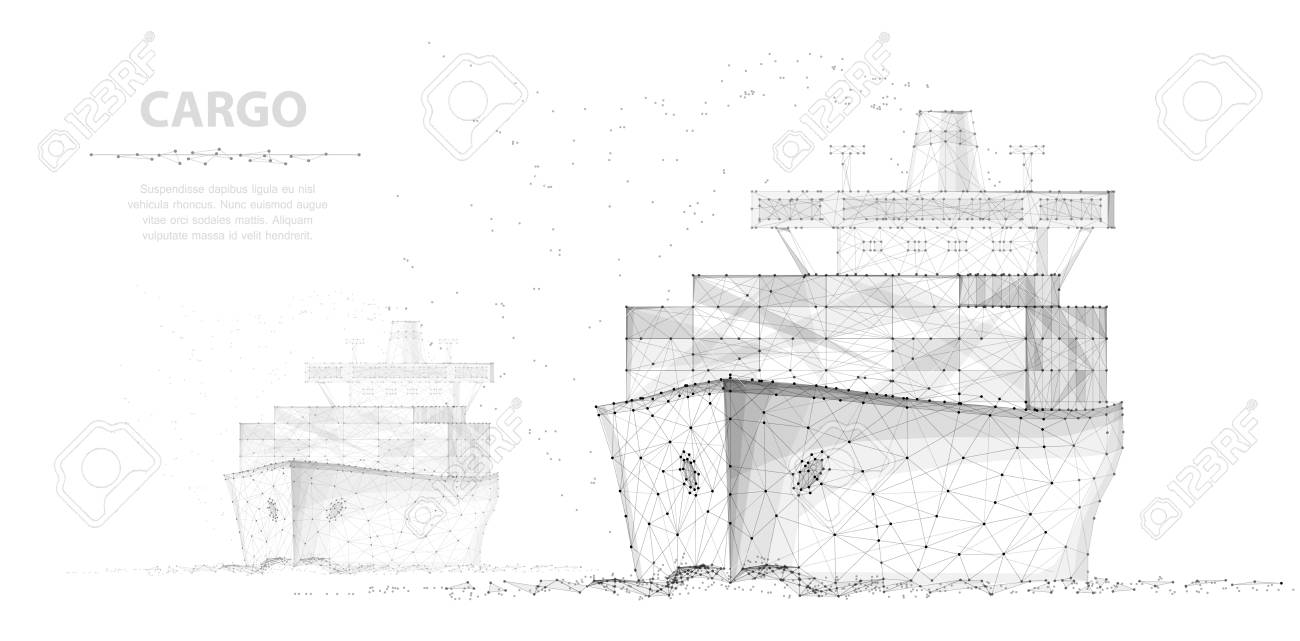 Worldwide cargo ship. Two boats. Abstract Polygonal wireframe vector. Container transportation, commercial logistic, delivery shipping - 127503998