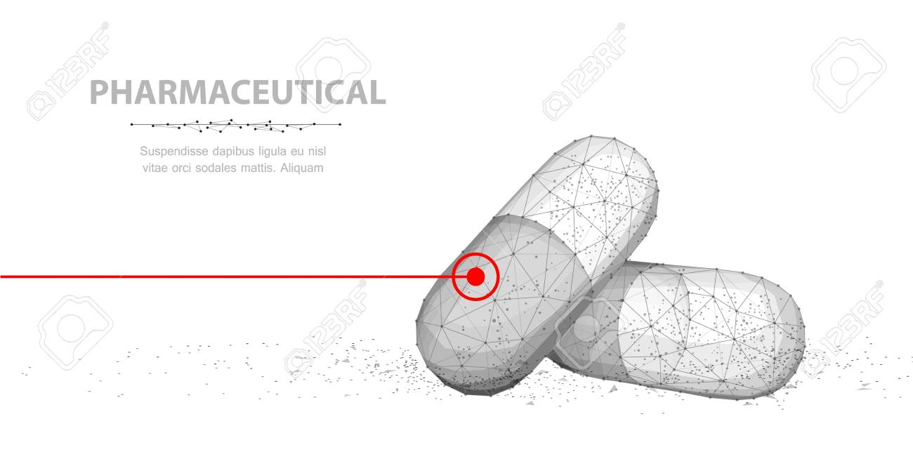 Pills. Abstract 3d closeup illustration two capsule pills with red line isolated on white background. - 127504009