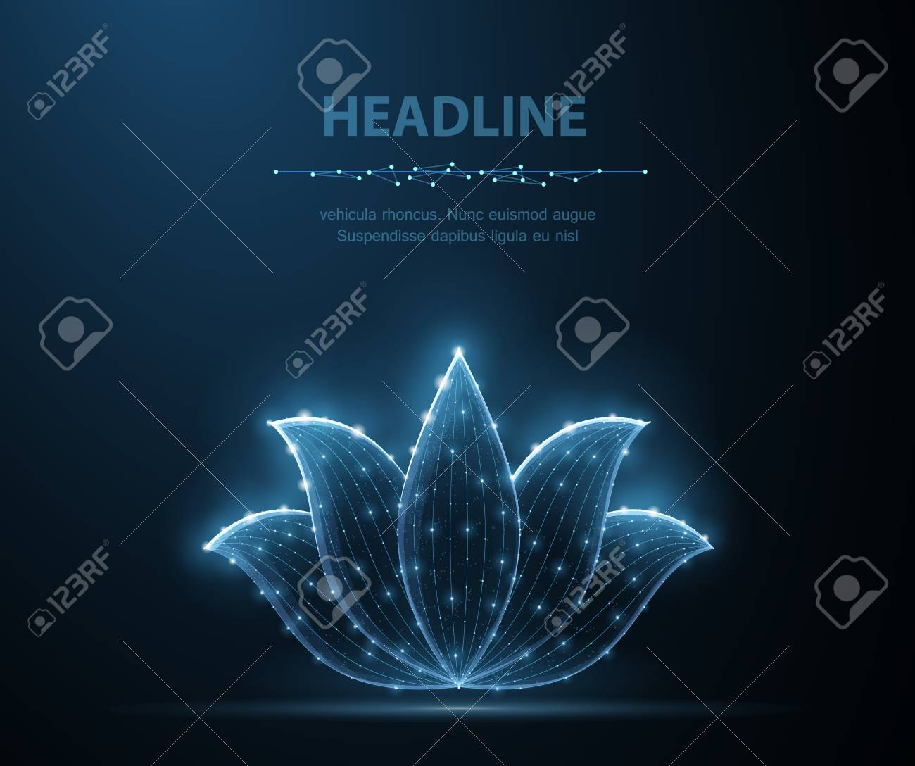 Lotus. Abstract vector lotus flower icon isolated on blue background. Natural beauty, floral ornament, relax yoga, fitness harmony symbol. - 127504036