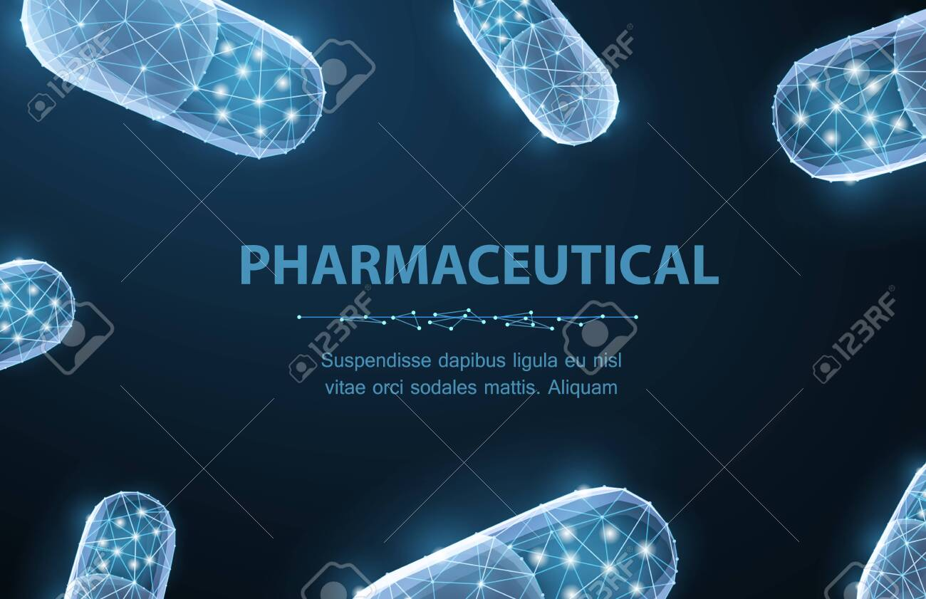 Pills. Abstract 3d polygonal wireframe two capsule pills on blue background with dots and stars. - 135848774