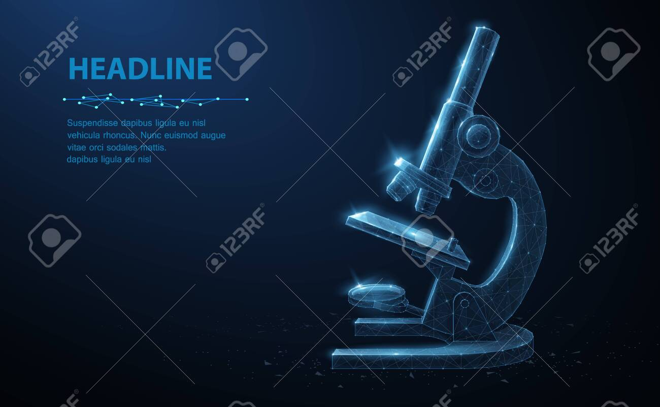 Microscope. Abstract vector 3d professional school microscope isolated on blue background. Science laboratory, medical equipment concept. - 132678296