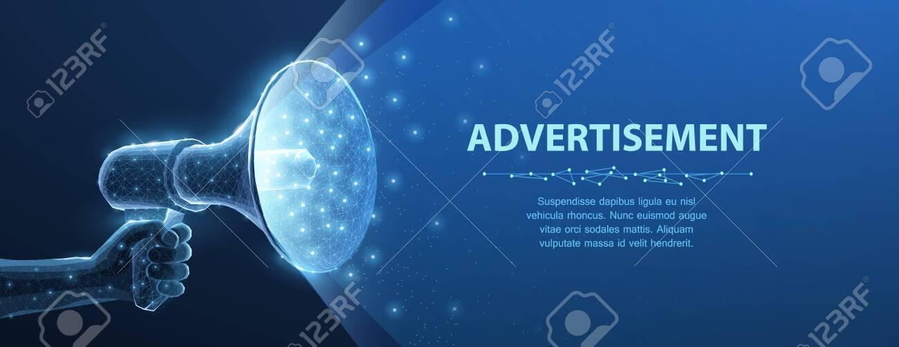 Bullhorn. Abstract 3d megaphone on blue background. Communication, announcement message, shout speech, warning alert concept. - 138368480