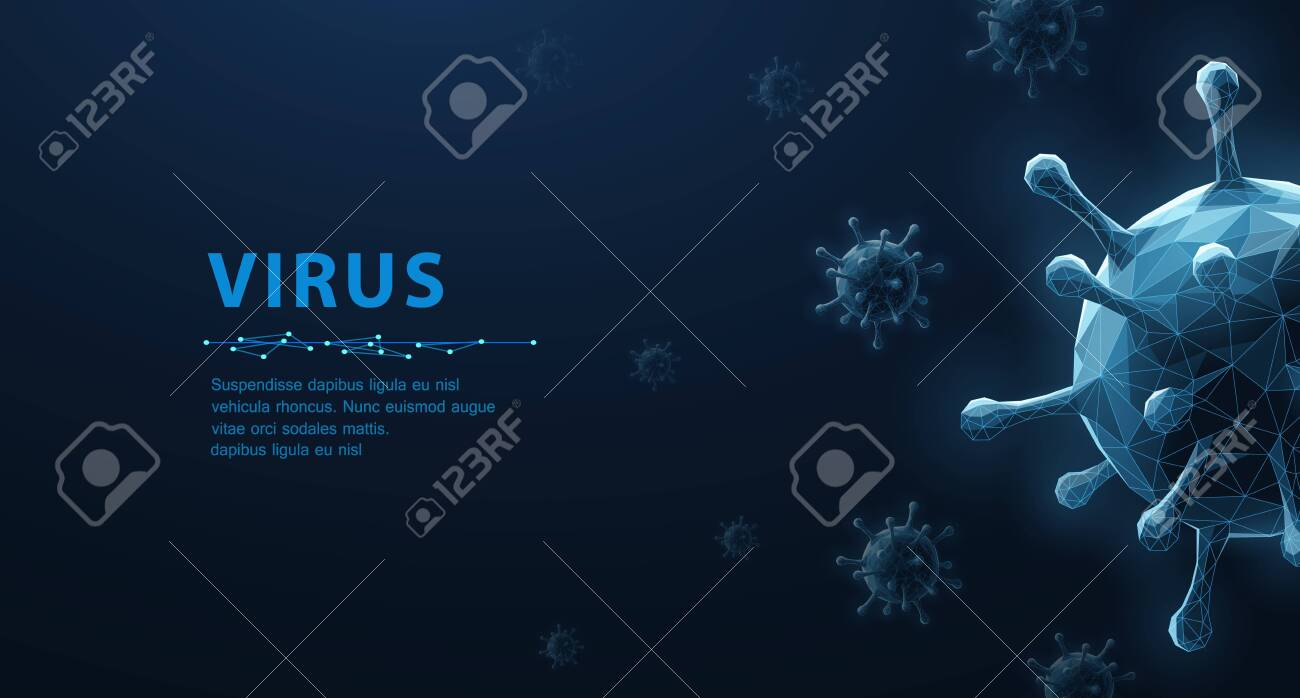 Virus. Abstract vector 3d microbe isolated on blue background. Computer virus, allergy bacteria, medical healthcare, microbiology concept. Disease germ, pathogen organism, infectious micro virology - 138368481