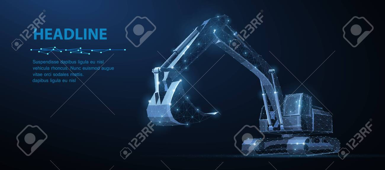 Excavator. Abstract vector 3d excavator isolated on blue background. - 137755917