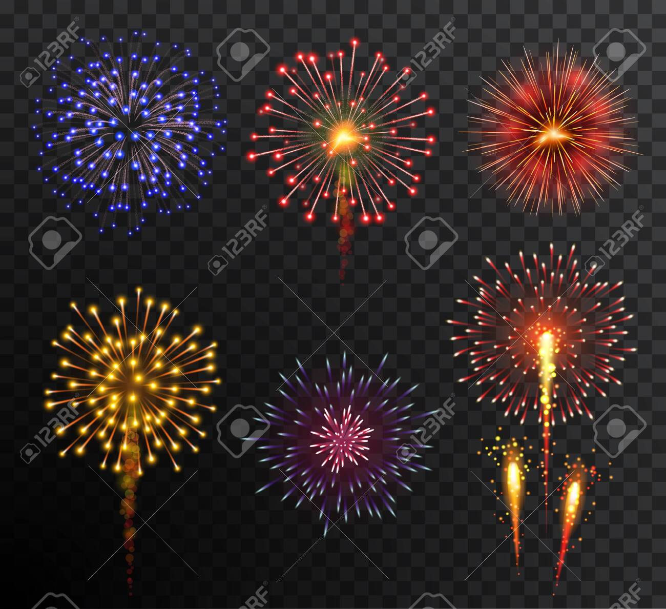 Firework. Set multy-colored new year bright firework explode isolated on transparent background. Holidey, victory, celebration symbol. Festival, anniversary or party decoration - 134968705
