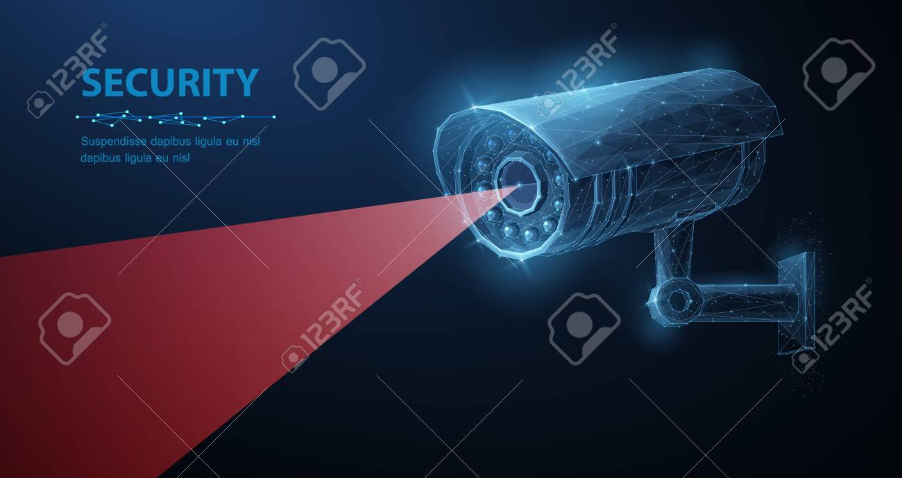 Security camera. Vector low pole illustration. Isolated on blue. Security system, smart home, cctv concept. - 136974628