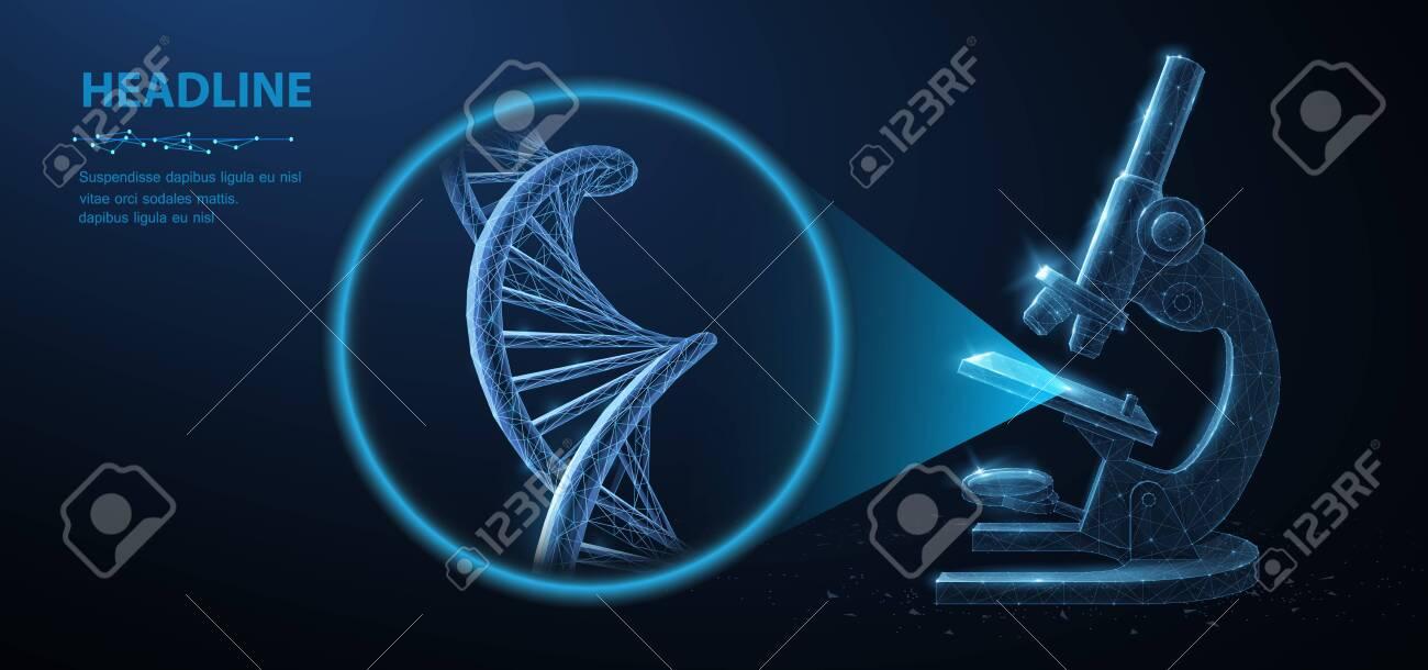 Genetic engineering concept. Vector 3d dna molecule helix spiral model and microscope. - 137602342
