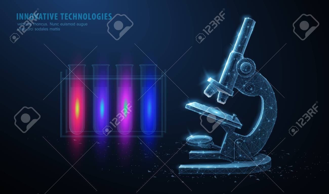 Microscope. Abstract 3d professional school microscope isolated on blue background. Science laboratory, medical equipment concept. - 139812060