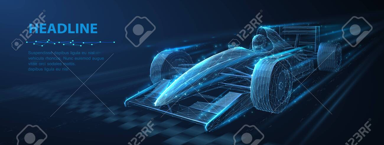 Abstract vector 3d f 1 bolide rasecar on speedway. Fast motion. Finish line. Success in competition, rase winner, business win concept. - 150112665