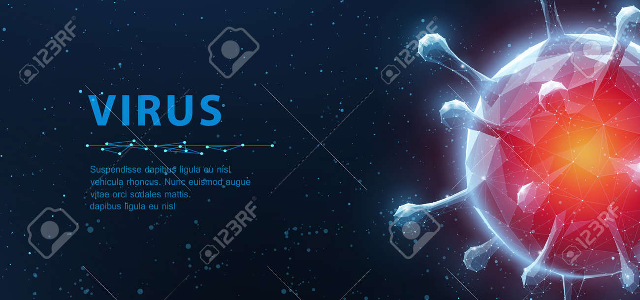 Virus. Abstract vector 3d viral microbe on blue background. Allergy bacteria, medical healthcare, microbiology concept. - 155723265