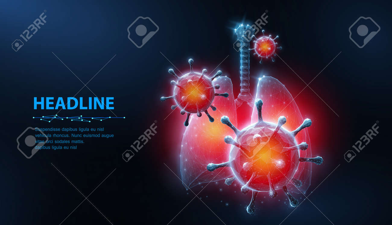 Virus in lung. Abstract vector 3d corona microbe on lung background. Pneumonia virus, covid illnes, medical healthcare, microbiology concept. - 156432121