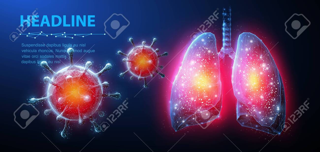 Virus in lung. Abstract vector 3d corona microbe on lung background. Pneumonia virus, covid illnes, medical healthcare, microbiology concept. - 156866483