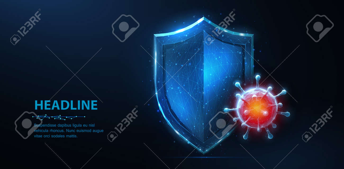 Shield vs virus. Abstract vector 3d shield viral microbe vs shield isolated. Computer virus safety, bacterial protection, pandemic fight - 157883107