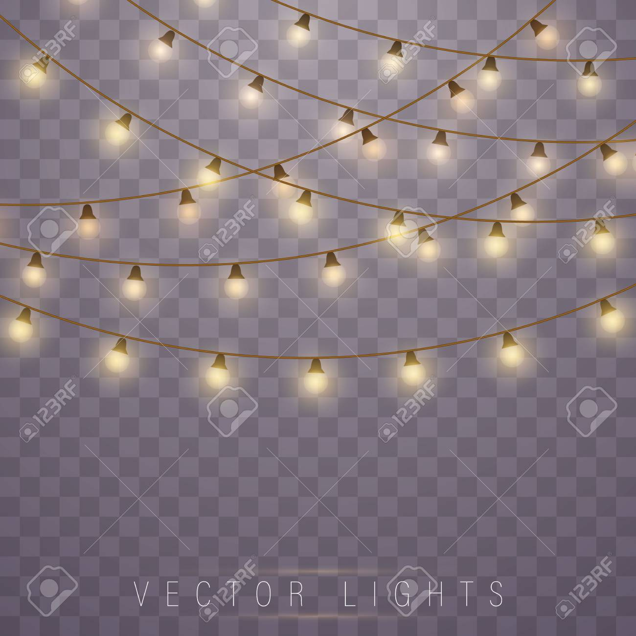 Christmas Lights Isolated On Transparent Background Led Neon