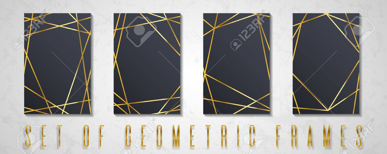 gold collection of geometrical polyhedron vector border collection for birthday new year christmas