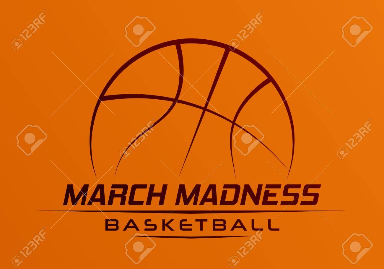 March Madness basketball sport design. Basketball tournament logo, emblem, designs with basketball ball. - 117129399
