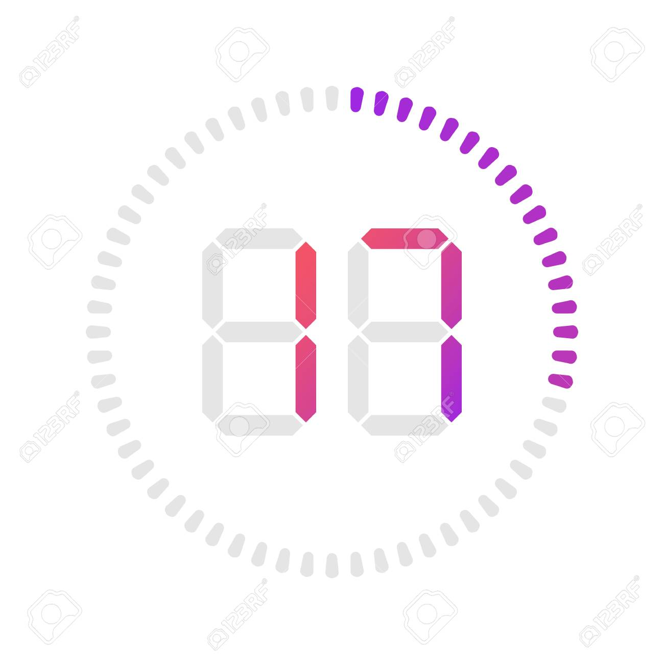The 17 minutes, stopwatch vector icon, digital timer  Vector