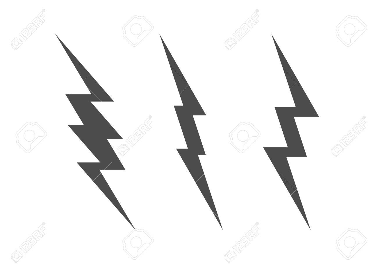 Lightning Bolt Minimal Simple Symbol. Vector Set Of Black Thunder ...