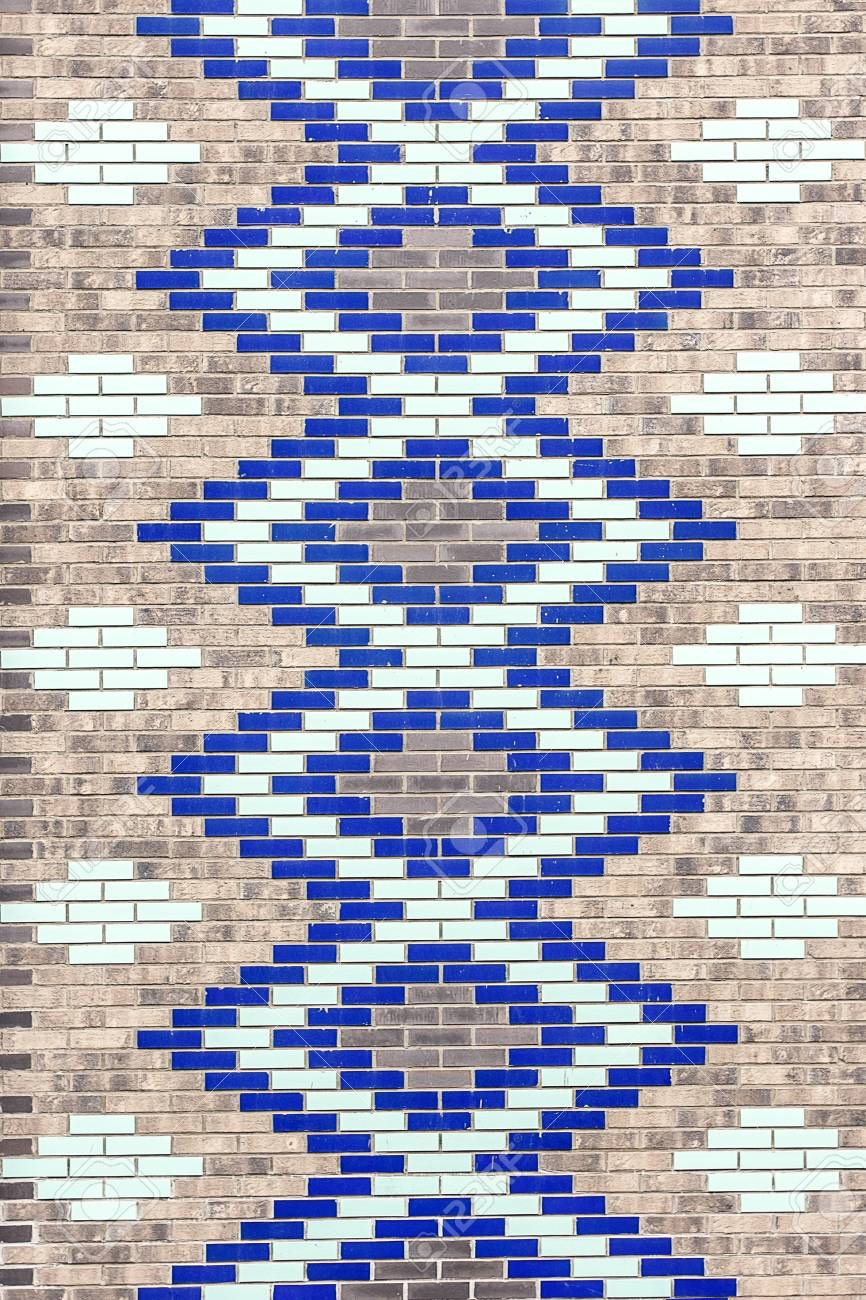 Wall Of Decorative Colored Ceramic Bricks. Geometric Pattern ...