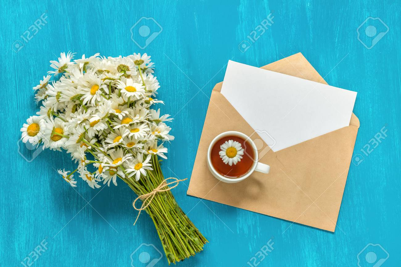 Bouquet White Chamomiles Flowers Cup Of Herbs Tea And Letter Craft