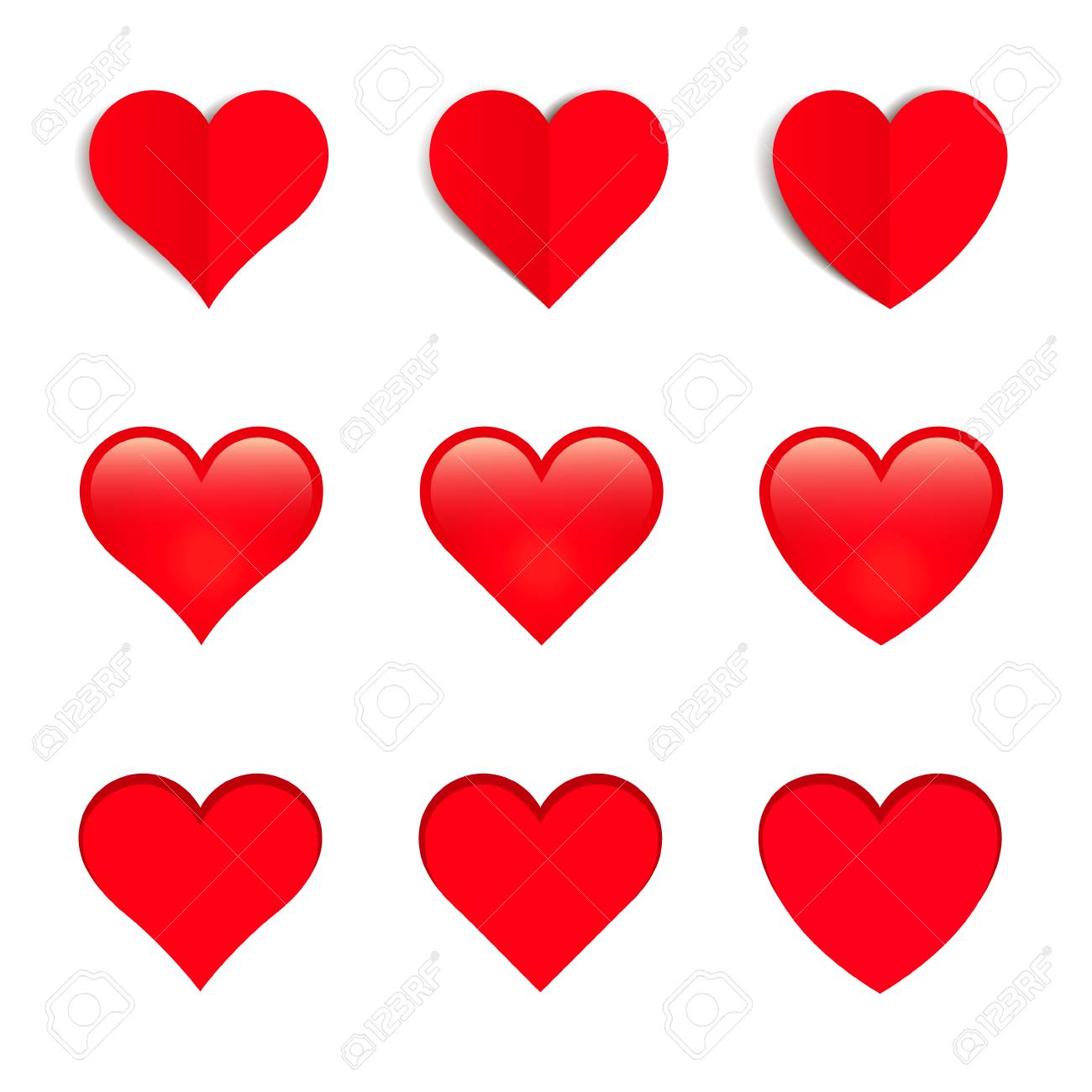 red vector hearts isolated on white background royalty free rh 123rf com free vector heart hands free vector heart download