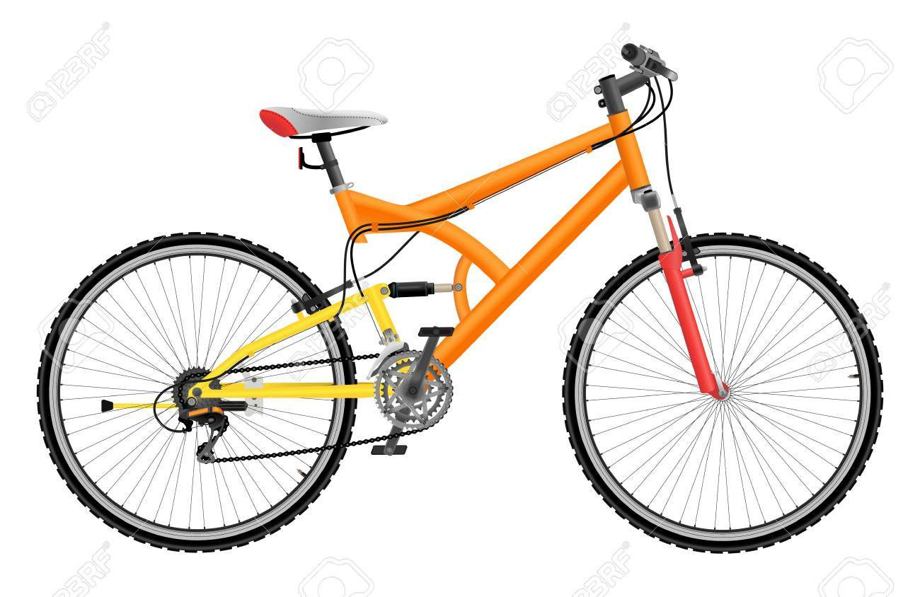 Two suspension mountain bike isolated on white background - 30636433
