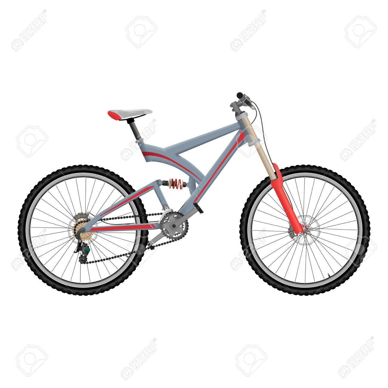 292dc2e463d Downhill extreme sport bicycle on white background. Two suspension bike  with hydraulic disc brakes.