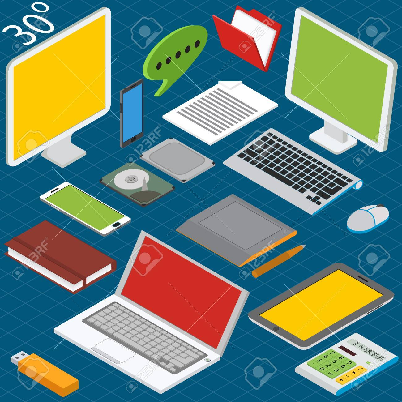 Isometric workplace with a laptop, desktop, smartphones, tablets, calculators, notebooks, hard drives and graphics tablet - 34278382