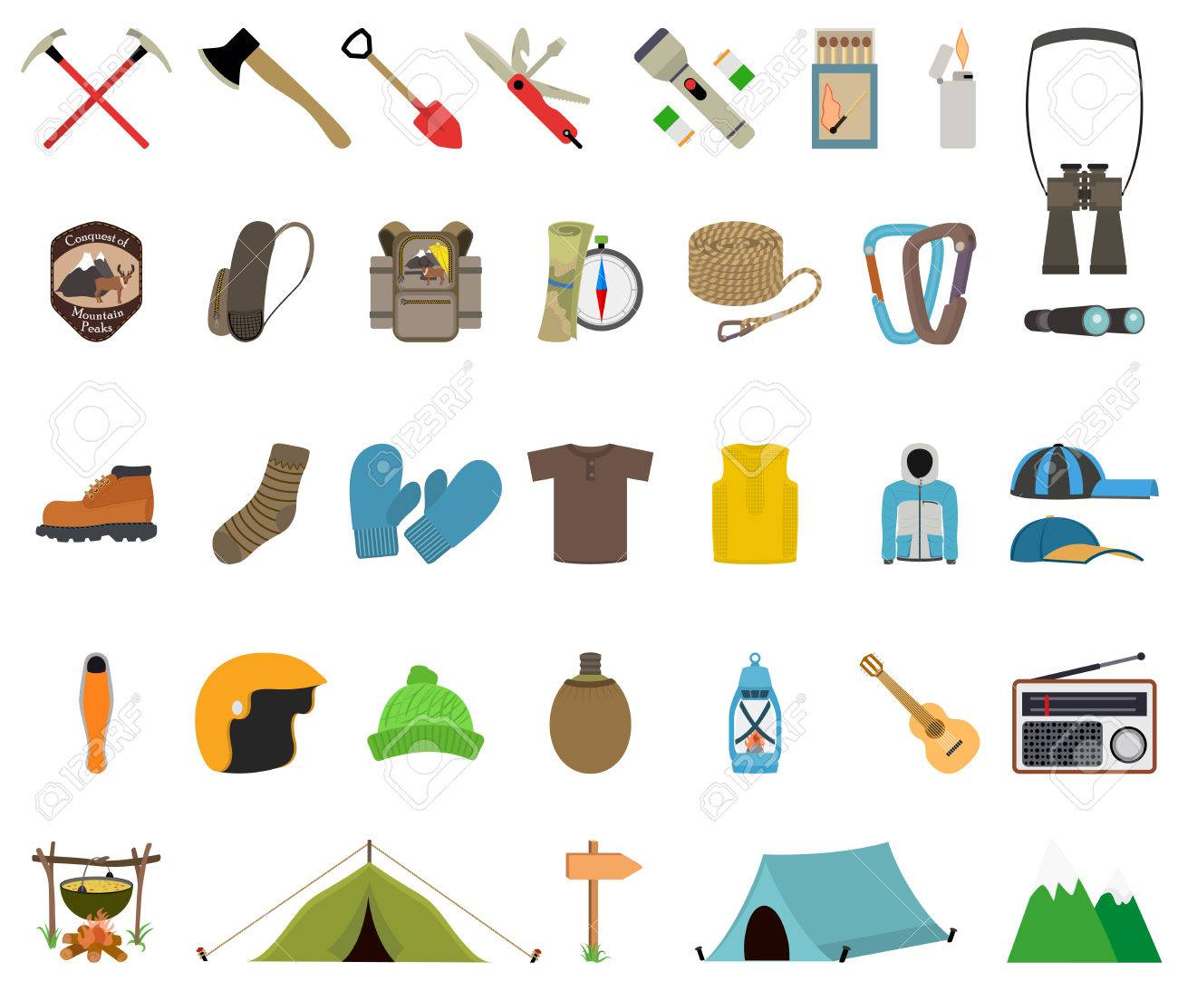 Mountain hiking and climbing vector icon set. No transparency. No gradients. - 37160664