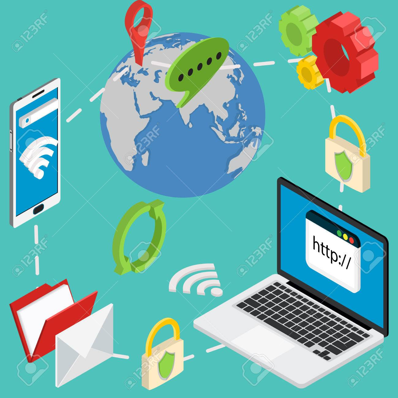 web isometric online safety data protection secure connection cryptography antivirus - 38960491