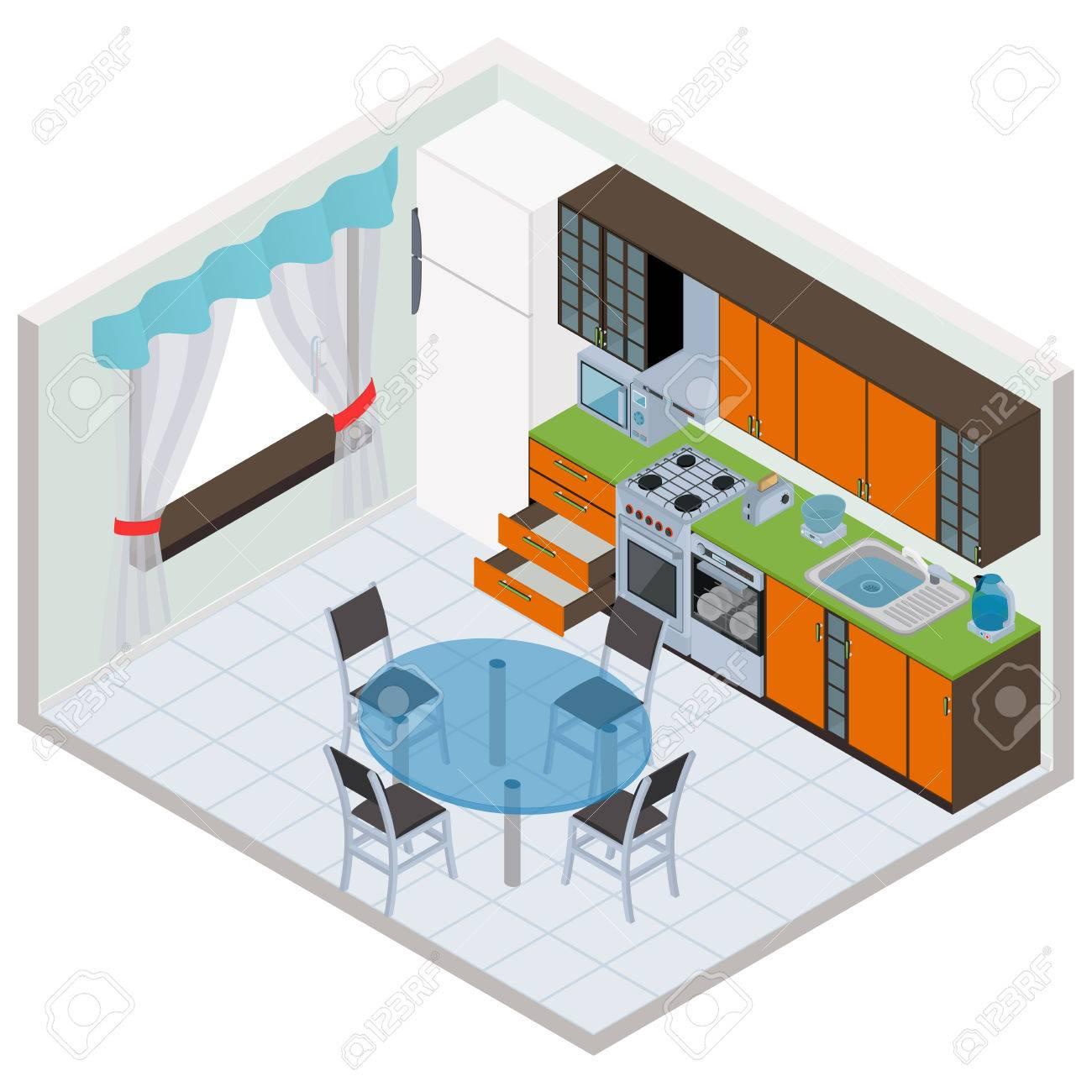 Vector isometric kitchen interior - 3D illustration - 39377936