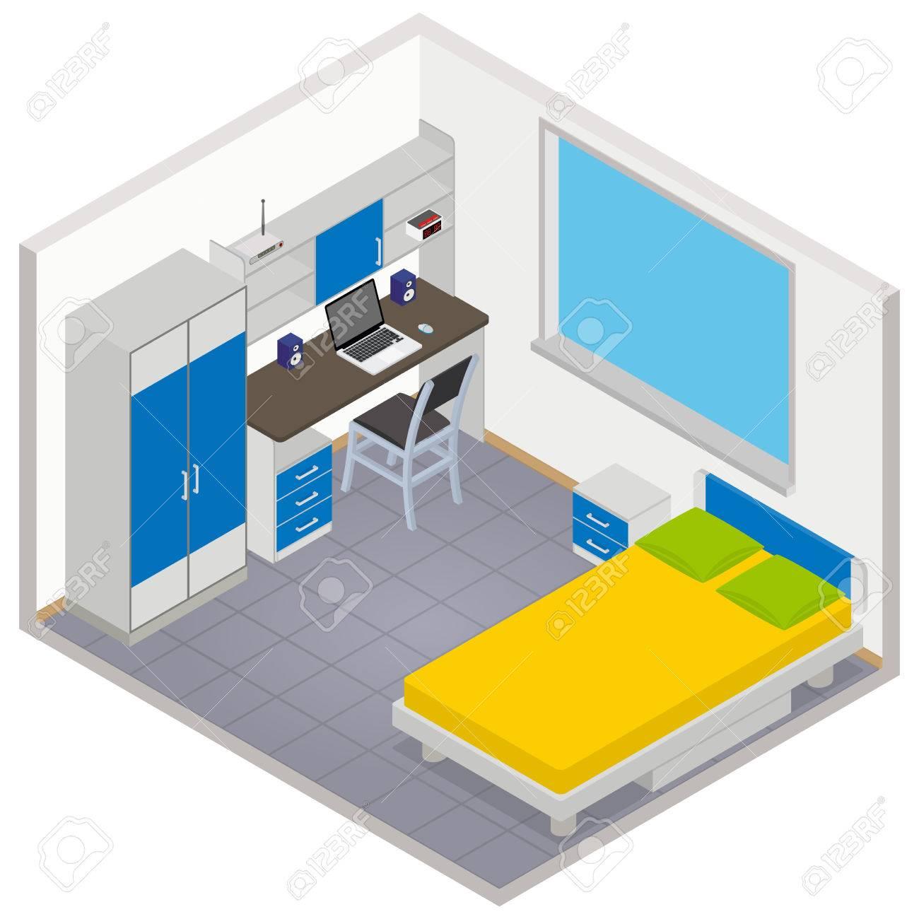 Vector isometric children room icon - 3D illustration - 39527072