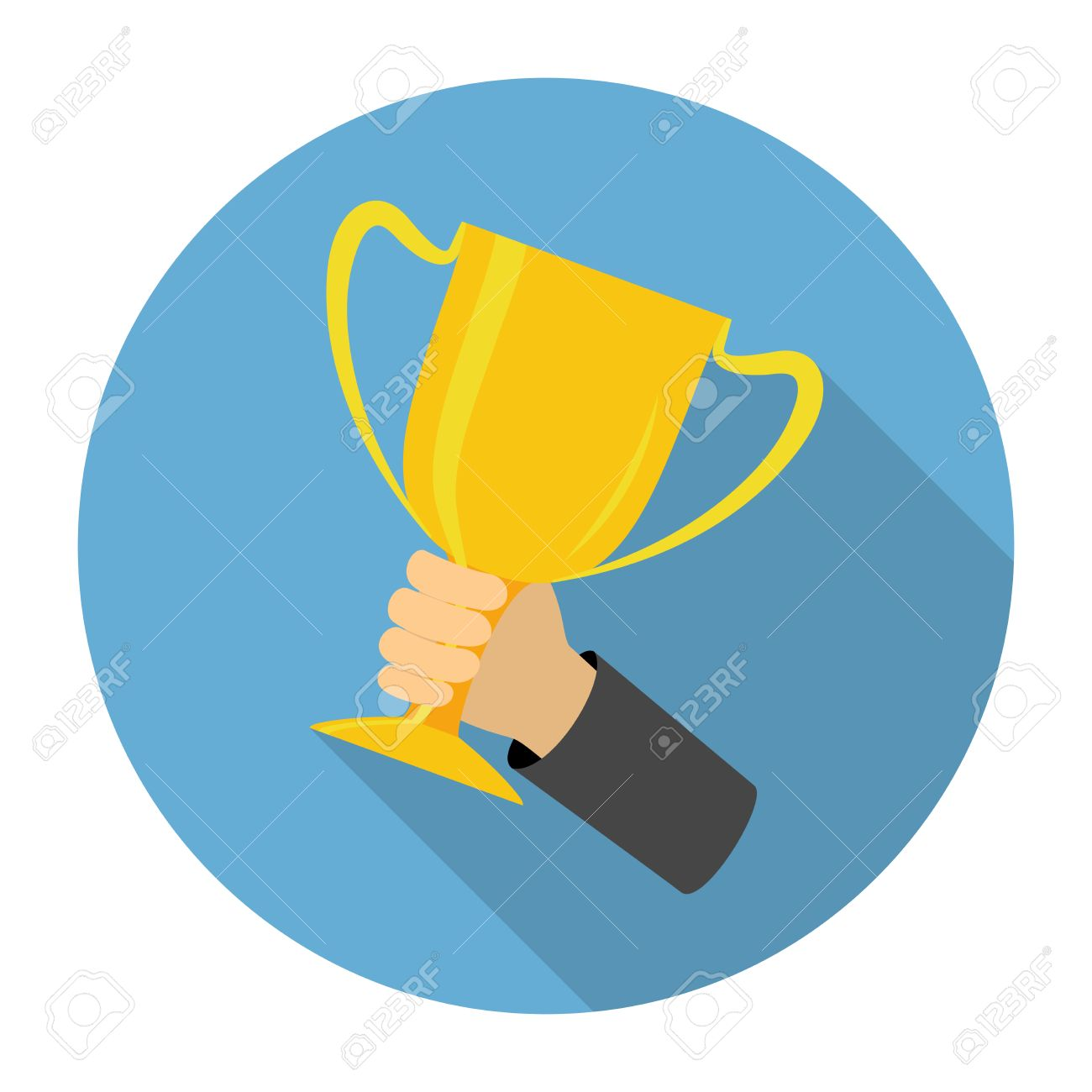 Vector Trophy Cup Flat Icon On Blue Background Royalty Free Cliparts