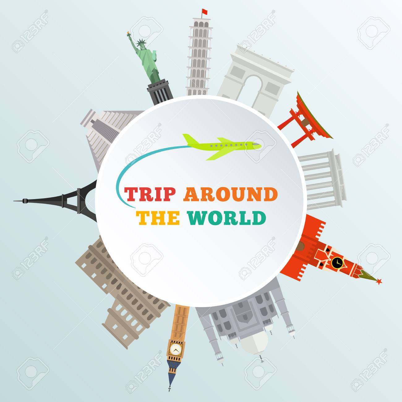 vector illustration of historical monument around earth - trip around the world - 41645552