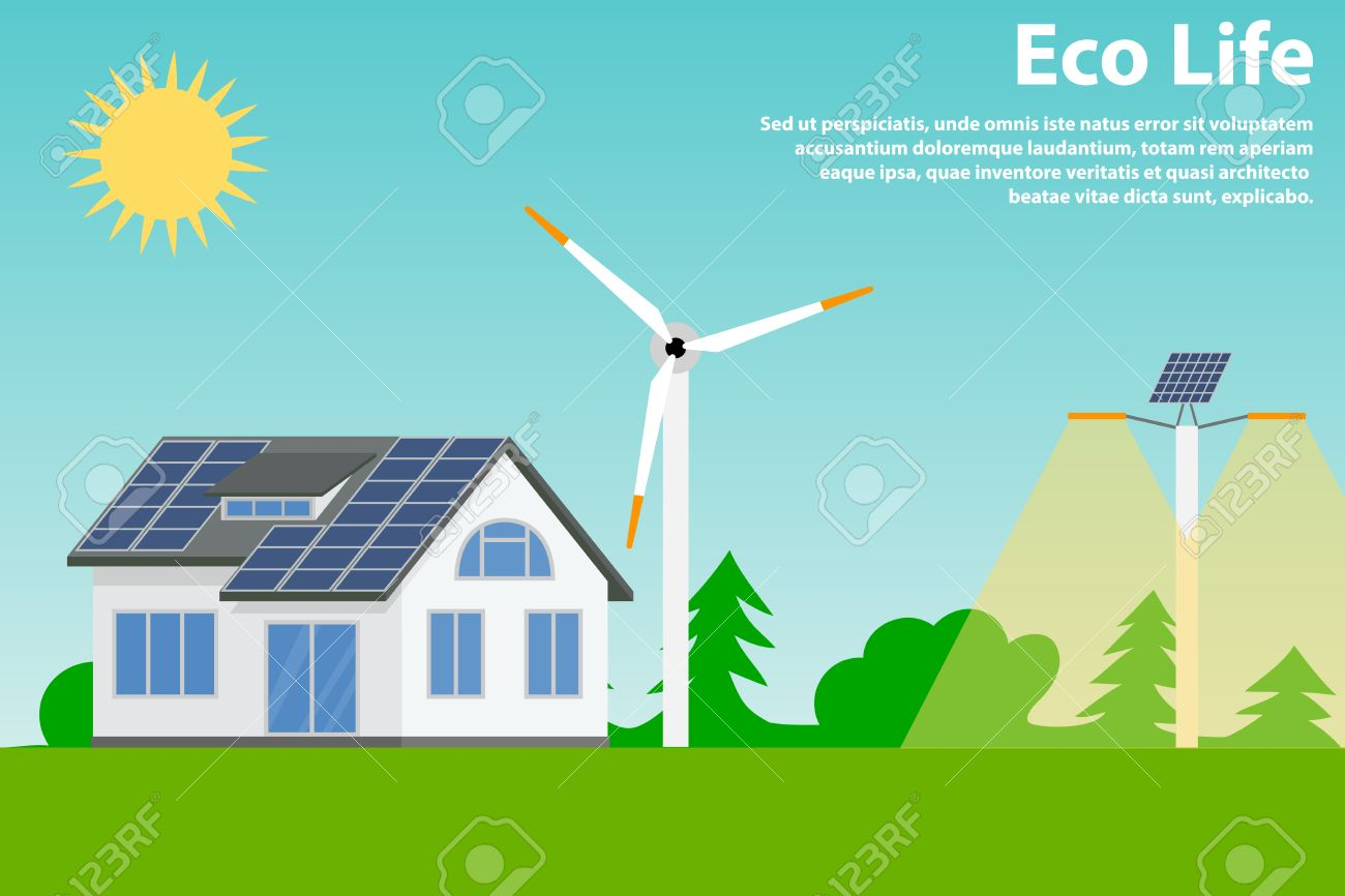 Preserving the environment and using renewable energy sources solar and wind eco house and