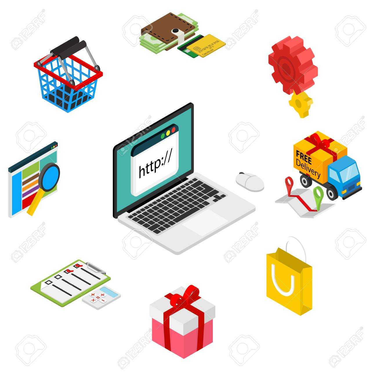 Isometric illustration of online shopping with laptop and icons - isolated on white - 43433463