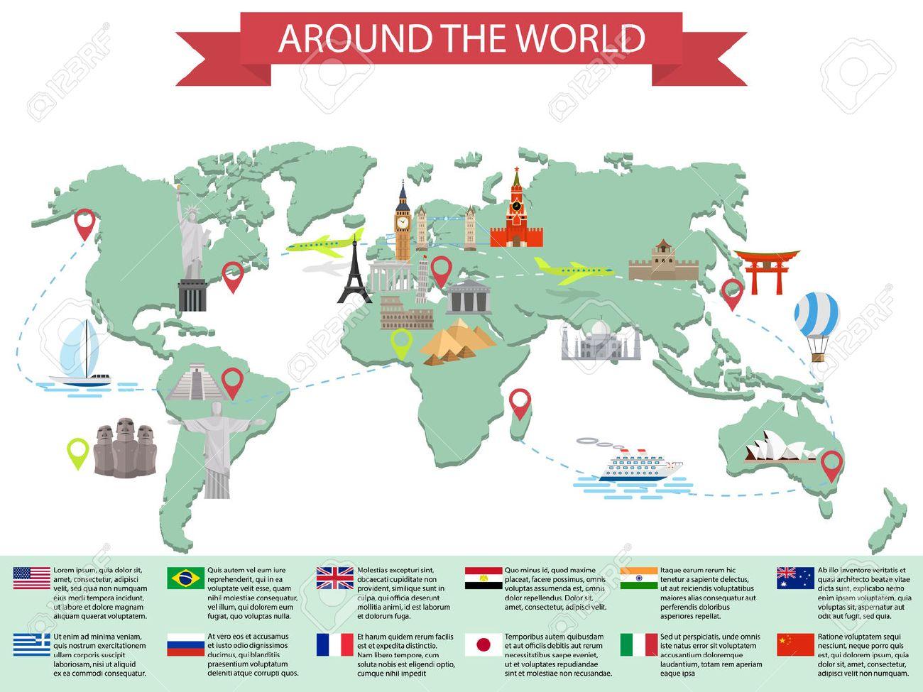 Infographic World Landmarks On Map Kremlin Eiffel Big Ben - Usa map landmarks