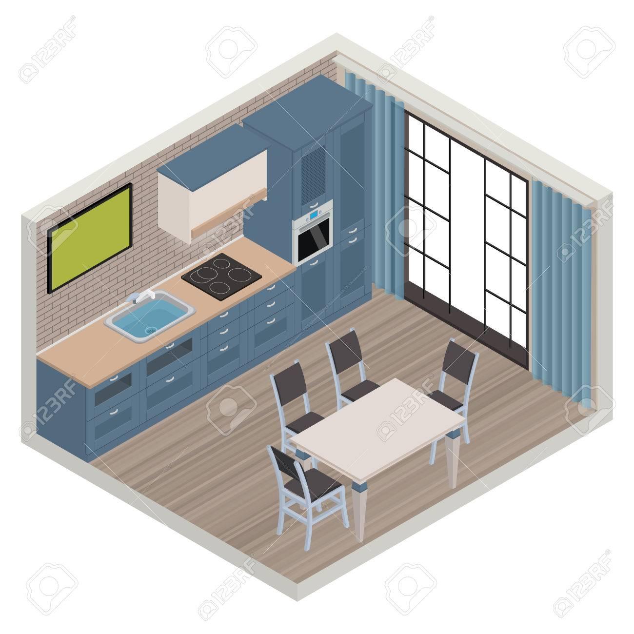 Vector Isometric Kitchen Nautical Color Interior - 3D Illustration ...