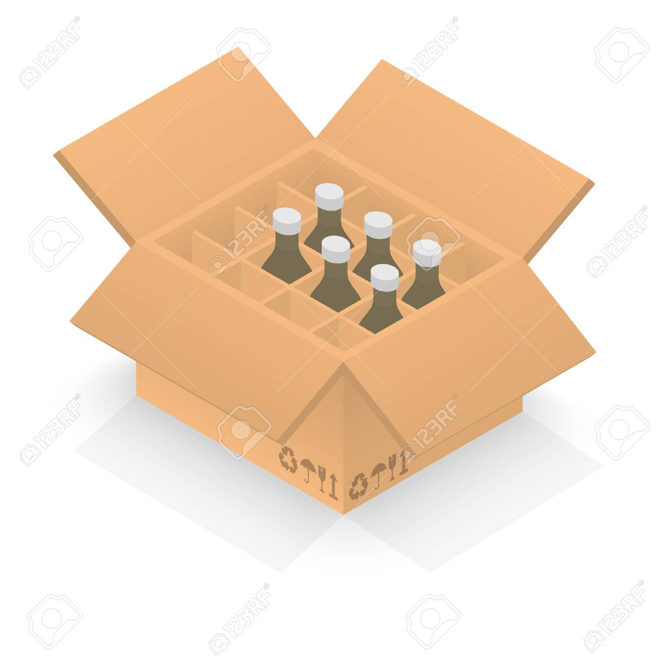 Isometric cardboard box with group bottles - 51000255