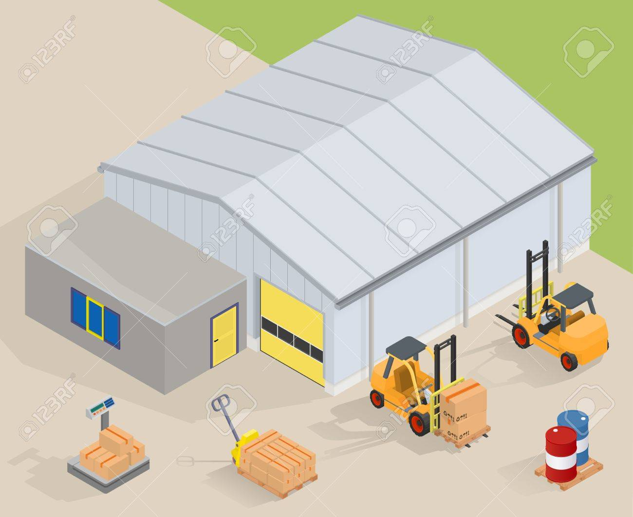 Big warehouse with office. Near forklifts, pallet truck, scales and barrels - isimetric vector illustration - 51000257