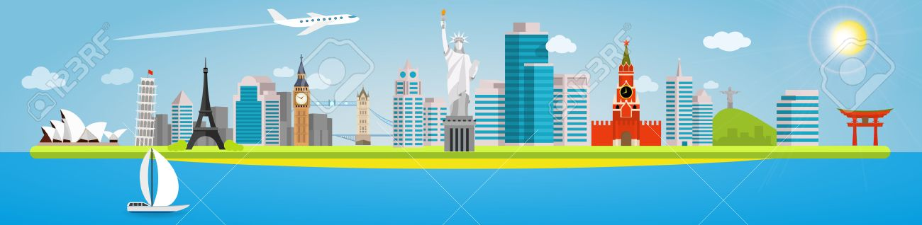 Long banner on the topic of traveling around the world. Landmarks in the background of the city. Opera House, Pisa, Eiffel, Big Ben, Tower, Statue of liberty, Kremlin, Christ Redeemer and Torii Gate. - 51917368
