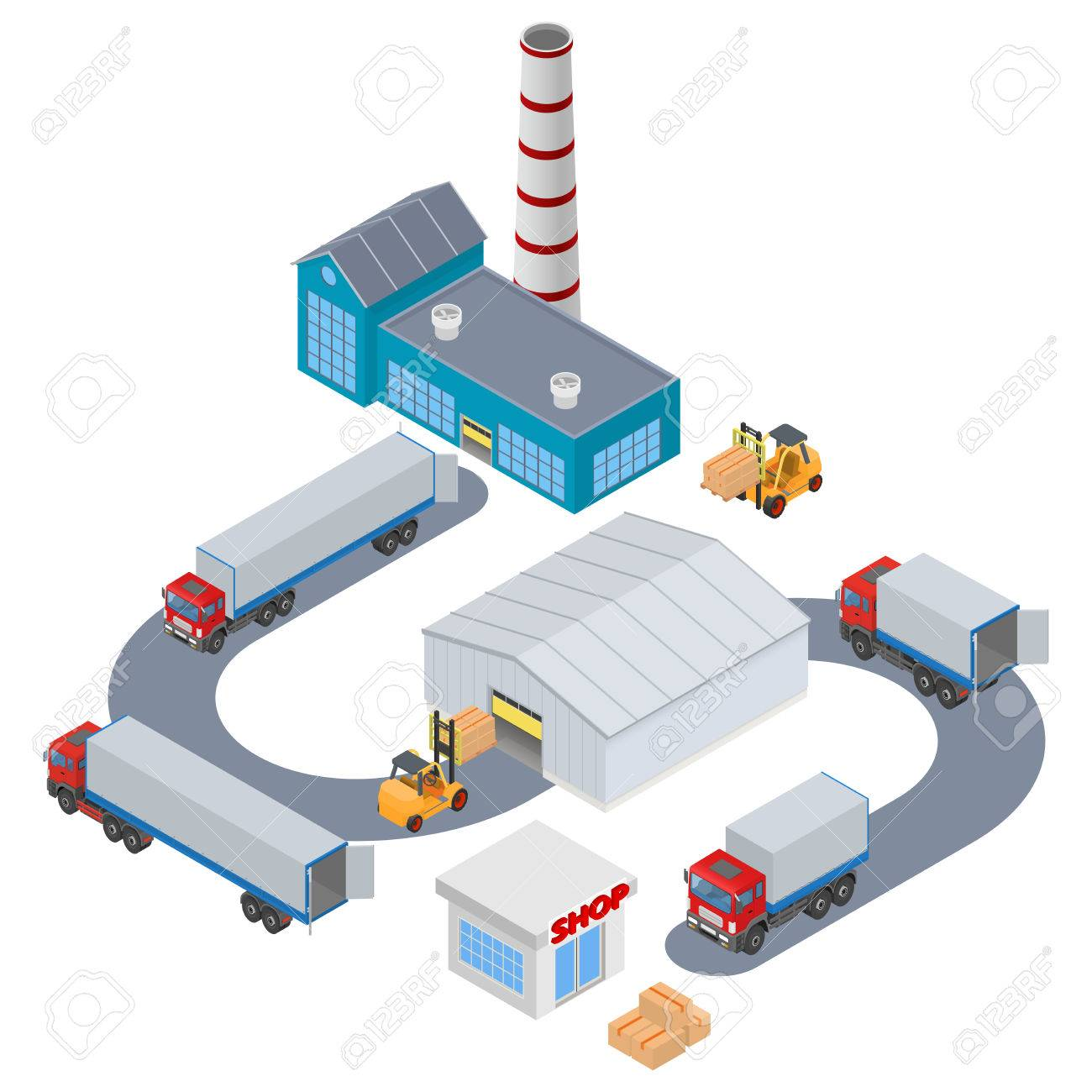 Manufacture Logistic - Factory, warehouse, shop, truck, forklift. Isometric illustration - 52408834