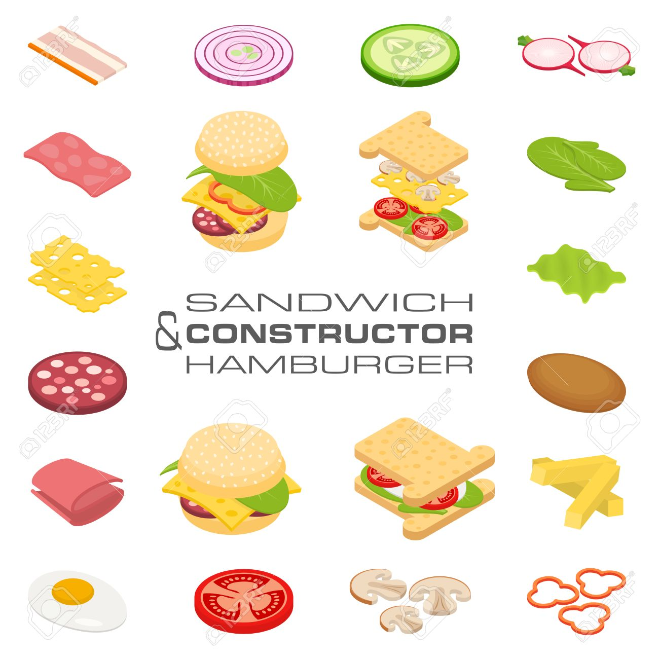 Set vector constructor isometric sandwich and hamburger ingredients: ham, cheese, egg, onion, tomato, cucumber, mushrooms, radishes, salad, cutlet, potato and pepper - 54881611