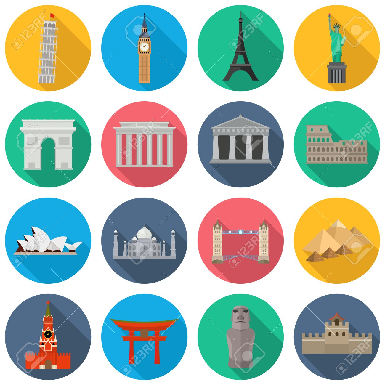 Vector icons of the worlds monuments. Leaning Tower of Pisa, Big Ben, Eiffel Tower, Statue liberty, Triumphal Arch, Brandenburg Gate, Parthenon, Colosseum, Opera House, Taj Mahal, Tower Bridge, Pyramids of Giza, Acropolis, Sea Gate, Moai, Great Wall - 58783412