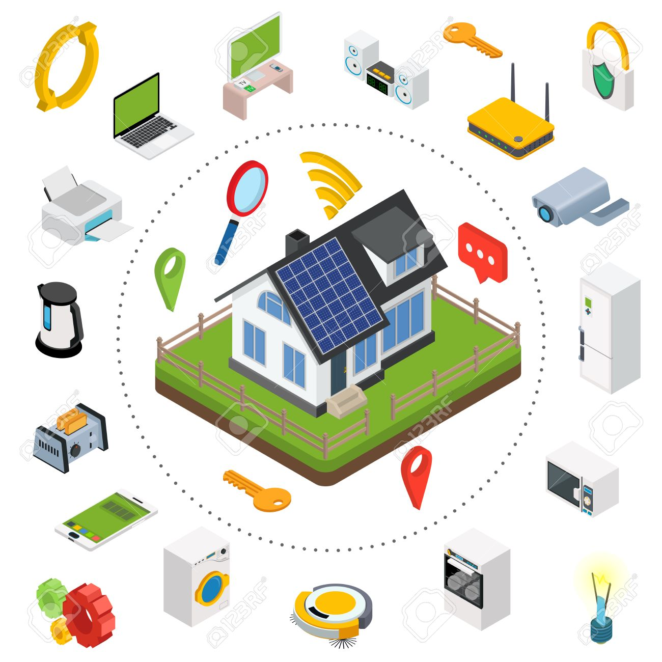 Smart Home. Isometric Design Style Vector Illustration Concept ...