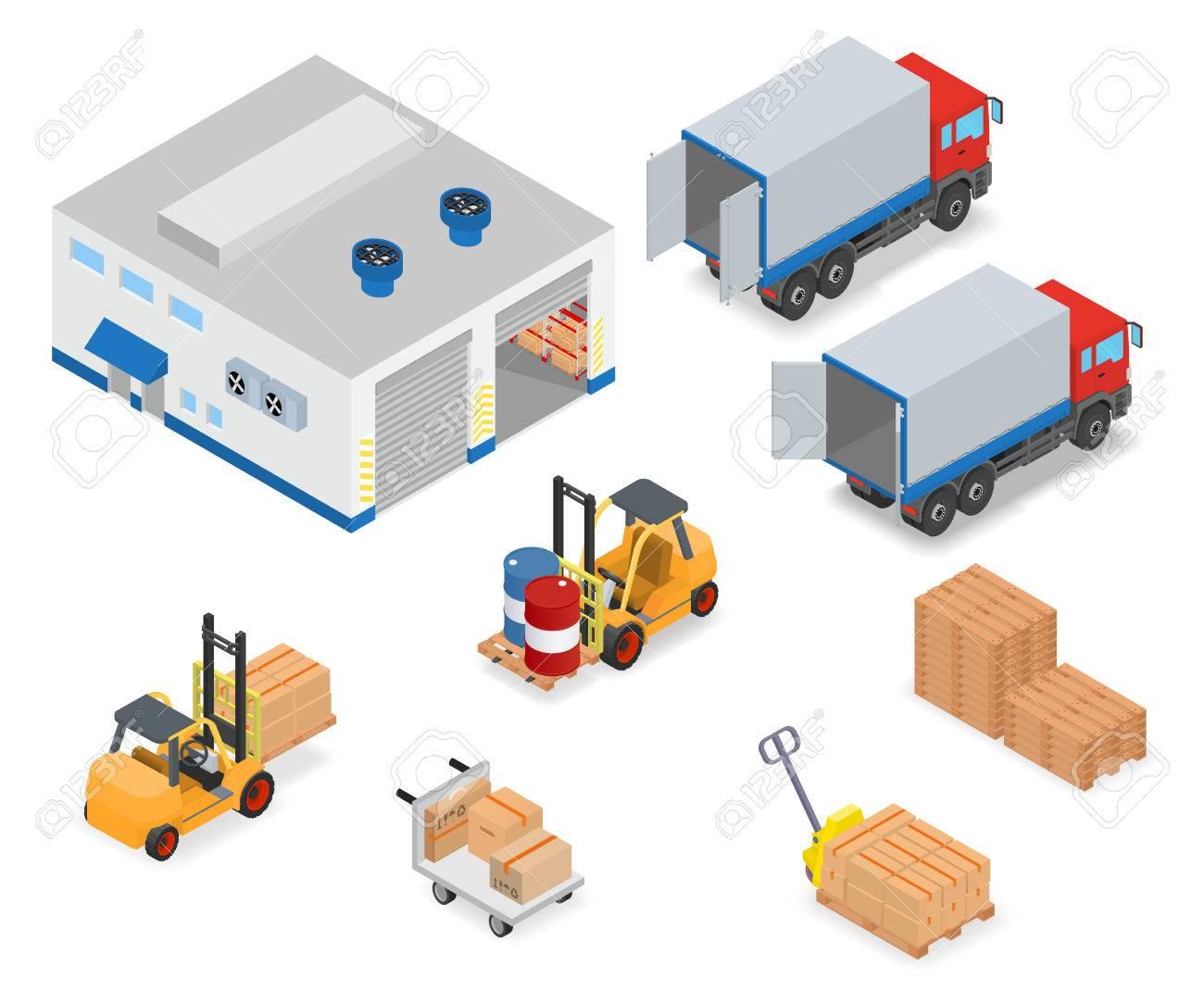 Chargement Ou Dechargement D Un Camion Dans L Entrepot Chariots