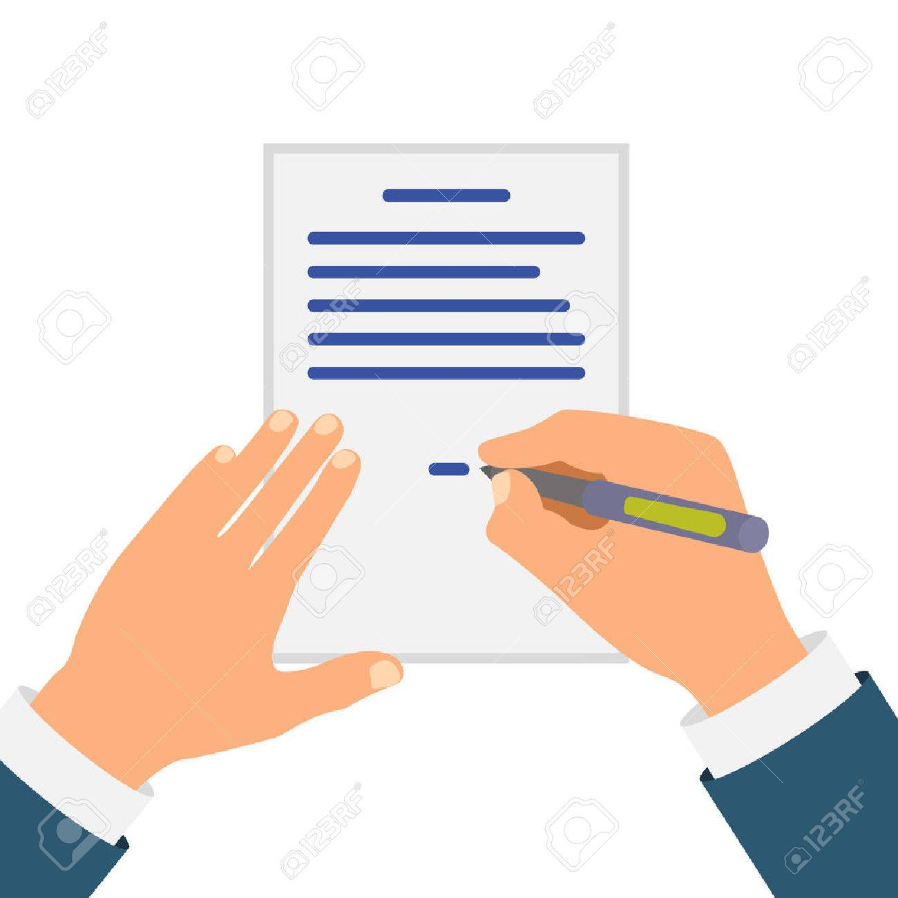 Colored Cartooned Hand Signing Contract Graphic Design on Blue Background. - 64756581